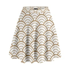 Art Deco,japanese Fan Pattern, Gold,white,vintage,chic,elegant,beautiful,shell Pattern, Modern,trendy High Waist Skirt