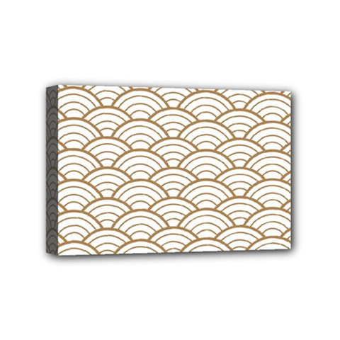 Art Deco,japanese Fan Pattern, Gold,white,vintage,chic,elegant,beautiful,shell Pattern, Modern,trendy Mini Canvas 6  X 4  by 8fugoso