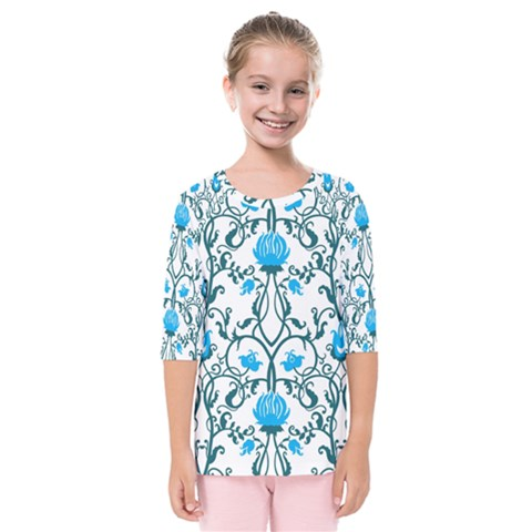 Art Nouveau, Art Deco, Floral,vintage,blue,green,white,beautiful,elegant,chic,modern,trendy,belle Époque Kids  Quarter Sleeve Raglan Tee by 8fugoso