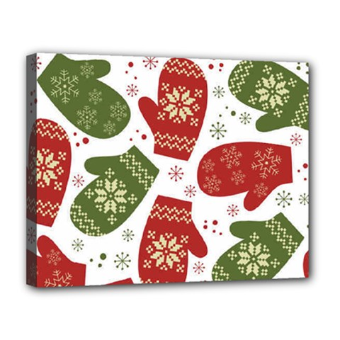 Winter Snow Mittens Canvas 14  X 11  by allthingseveryone