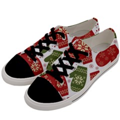 Winter Snow Mittens Men s Low Top Canvas Sneakers by allthingseveryone