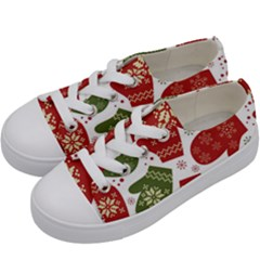 Winter Snow Mittens Kids  Low Top Canvas Sneakers by allthingseveryone