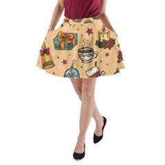 Cute Vintage Christmas Pattern A Line Pocket Skirt by allthingseveryone