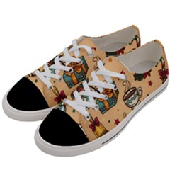 Cute Vintage Christmas Pattern Women s Low Top Canvas Sneakers by allthingseveryone
