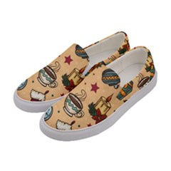 Cute Vintage Christmas Pattern Women s Canvas Slip Ons by allthingseveryone