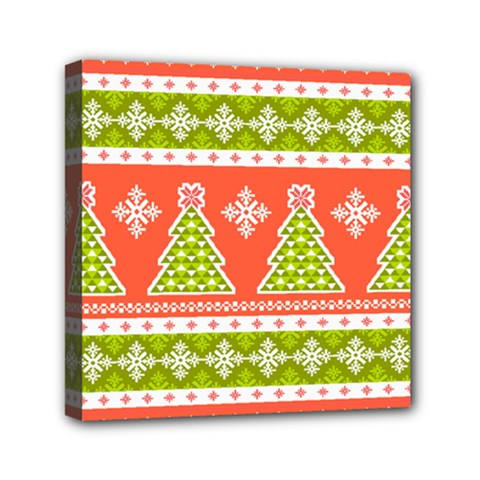 Christmas Tree Ugly Sweater Pattern Mini Canvas 6  X 6