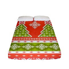 Christmas Tree Ugly Sweater Pattern Fitted Sheet (full/ Double Size) by allthingseveryone
