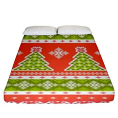 Christmas Tree Ugly Sweater Pattern Fitted Sheet (king Size) by allthingseveryone