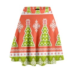 Christmas Tree Ugly Sweater Pattern High Waist Skirt by allthingseveryone