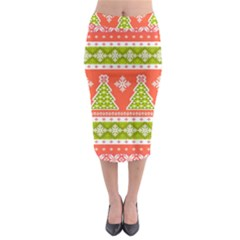 Christmas Tree Ugly Sweater Pattern Midi Pencil Skirt by allthingseveryone