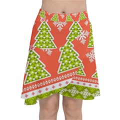 Christmas Tree Ugly Sweater Pattern Chiffon Wrap