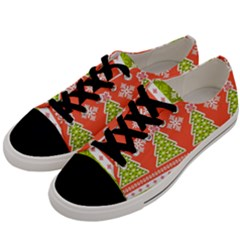 Christmas Tree Ugly Sweater Pattern Men s Low Top Canvas Sneakers by allthingseveryone