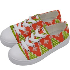 Christmas Tree Ugly Sweater Pattern Kids  Low Top Canvas Sneakers by allthingseveryone