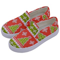 Christmas Tree Ugly Sweater Pattern Kids  Canvas Slip Ons by allthingseveryone
