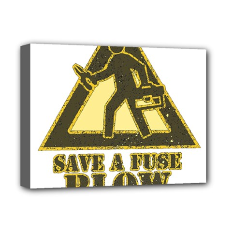 Save A Fuse Blow An Electrician Deluxe Canvas 16  X 12   by FunnyShirtsAndStuff