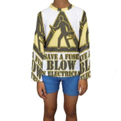 Save A Fuse Blow An Electrician Kids  Long Sleeve Swimwear by FunnyShirtsAndStuff