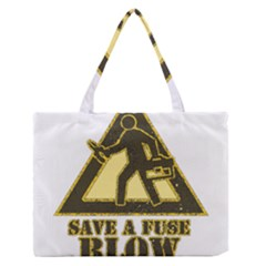 Save A Fuse Blow An Electrician Zipper Medium Tote Bag by FunnyShirtsAndStuff