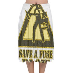 Save A Fuse Blow An Electrician Velvet Flared Midi Skirt by FunnyShirtsAndStuff