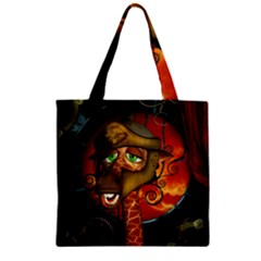 Funny Giraffe With Helmet Zipper Grocery Tote Bag by FantasyWorld7