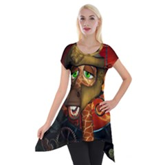 Funny Giraffe With Helmet Short Sleeve Side Drop Tunic by FantasyWorld7