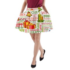 The Joys Of Christmas A Line Pocket Skirt by allthingseveryone
