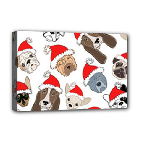 Christmas Puppies Deluxe Canvas 18  X 12   by allthingseveryone