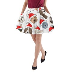 Christmas Puppies A Line Pocket Skirt by allthingseveryone