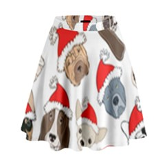 Christmas Puppies High Waist Skirt by allthingseveryone