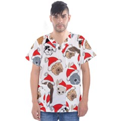 Christmas Puppies Men s V Neck Scrub Top