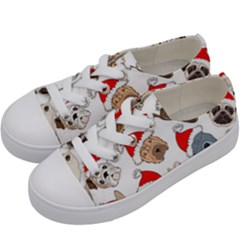 Christmas Puppies Kids  Low Top Canvas Sneakers by allthingseveryone