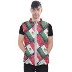 Mexican Flag Pattern Design Men s Puffer Vest