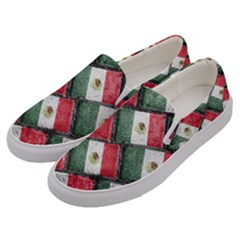 Mexican Flag Pattern Design Men s Canvas Slip Ons by dflcprints