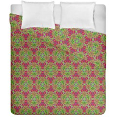 Red Green Flower Of Life Drawing Pattern Duvet Cover Double Side (california King Size) by Cveti