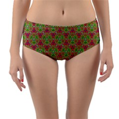 Red Green Flower Of Life Drawing Pattern Reversible Mid Waist Bikini Bottoms by Cveti