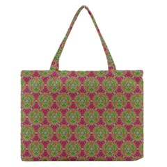 Red Green Flower Of Life Drawing Pattern Zipper Medium Tote Bag by Cveti