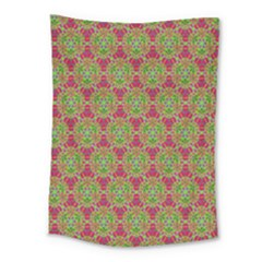 Red Green Flower Of Life Drawing Pattern Medium Tapestry by Cveti