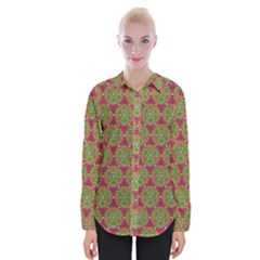 Red Green Flower Of Life Drawing Pattern Womens Long Sleeve Shirt by Cveti