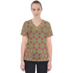 Red Green Flower Of Life Drawing Pattern Scrub Top by Cveti