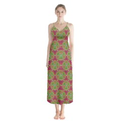 Red Green Flower Of Life Drawing Pattern Button Up Chiffon Maxi Dress by Cveti