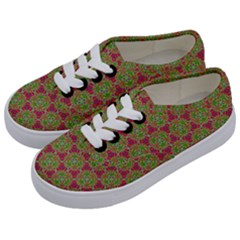 Red Green Flower Of Life Drawing Pattern Kids  Classic Low Top Sneakers by Cveti