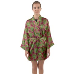Red Green Flower Of Life Drawing Pattern Long Sleeve Kimono Robe by Cveti