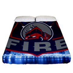 Chicago Fire With Skyline Fitted Sheet (queen Size) by allthingseveryone