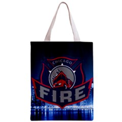 Chicago Fire With Skyline Zipper Classic Tote Bag by allthingseveryone