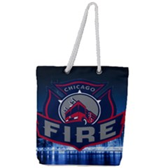 Chicago Fire With Skyline Full Print Rope Handle Tote (large) by allthingseveryone