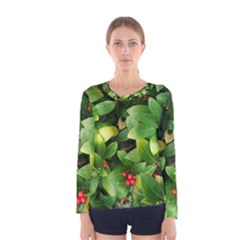 Christmas Season Floral Green Red Skimmia Flower Women s Long Sleeve Tee by yoursparklingshop