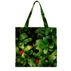 Christmas Season Floral Green Red Skimmia Flower Zipper Grocery Tote Bag by yoursparklingshop