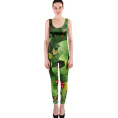 Christmas Season Floral Green Red Skimmia Flower Onepiece Catsuit by yoursparklingshop