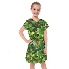 Christmas Season Floral Green Red Skimmia Flower Kids  Drop Waist Dress by yoursparklingshop