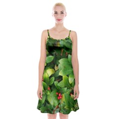 Christmas Season Floral Green Red Skimmia Flower Spaghetti Strap Velvet Dress by yoursparklingshop