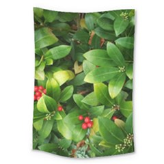 Christmas Season Floral Green Red Skimmia Flower Large Tapestry